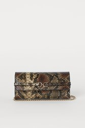 Handm H M Snakeskin Patterned Clutch Bag Green