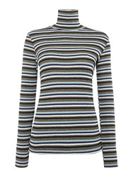 Biba Multi Stripe Long Sleeve Roll Neck Multi Coloured Multi Coloured