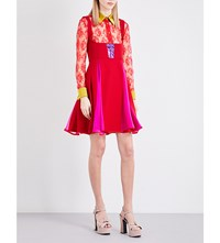 Eric Schlosberg Valentine Sequin Embellished Wool Dress Red