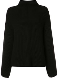 Rosetta Getty Cropped Back Ribbed Blouse Black