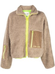 Sandy Liang Faux Shearling Jacket Brown