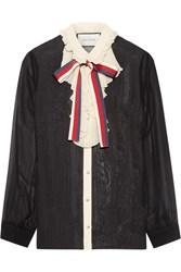 Gucci Ruffle Trimmed Silk Georgette Shirt Black