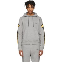 Off White Grey And Yellow Arrows Hoodie