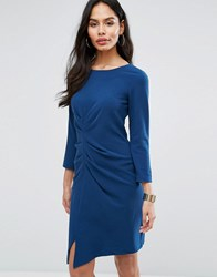 Closet London 3 4 Sleeve Ruched Front Pencil Dress Navy