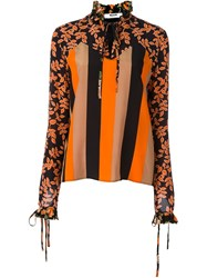 Msgm Printed Ruffle Trim Shirt Yellow And Orange