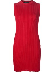 Area Di Barbara Bologna Ribbed Sleeveless 'Circle Sweater' Dress Red