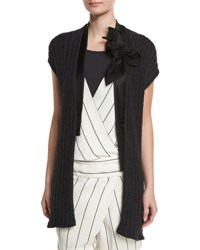 Brunello Cucinelli Cap Sleeve Paillette Ribbed Cardigan Black