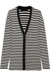 Proenza Schouler Striped Ribbed Silk And Cashmere Blend Cardigan Black