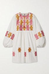 Figue Lucie Embroidered Cotton Mini Dress Ivory
