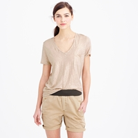 J.Crew Linen V Neck Pocket Tee In Metallic