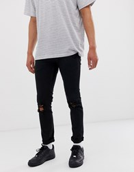 Lindbergh Super Skinny Jeans With Distressing In Black