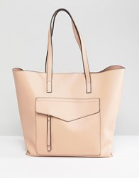 New Look Minimal Pocket Shopper Bag Beige