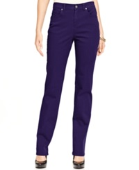 Style And Co. Straight Leg Tummy Control Jeans Colored Wash Purple Darkness