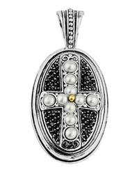 Konstantino Oval Spinel And Pearl Cross Pendant Enhancer