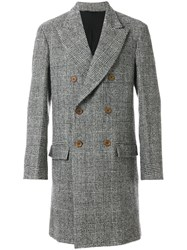 Ermanno Scervino Houndstooth Double Breasted Coat Men Cotton Cupro Wool Virgin Wool 56 Grey