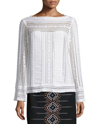 Nanette Lepore Long Sleeve Embroidered Peasant Top