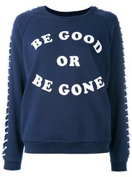 Zoe Karssen Lace Up Sleeves Sweatshirt Blue