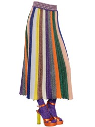 Missoni Striped Wool And Lame Blend Rib Knit Skirt