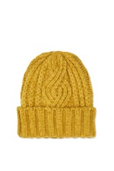 Topshop Cable Beanie Ochre
