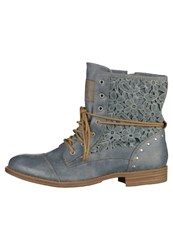 Mustang Laceup Boots Sky Blue