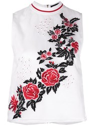 House Of Holland Rose Embroidery Tank White