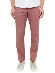 Ted Baker Clasmor Oxford Stretch Cotton Chinos Red
