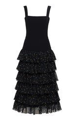 Ulyana Sergeenko Demi Couture Tiered Floral Dress Black