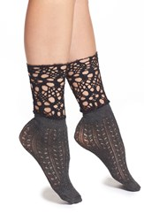 Free People 'Blanket' Crochet Ankle Socks Charcoal