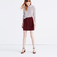 Madewell Studio Zip Skirt In Velvet Cabernet