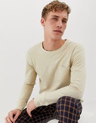 Selected Homme Long Sleeve T Shirt With Pocket In Slub Cotton Beige