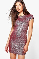 Boohoo Bodycon Dress With Cap Sleeve Red