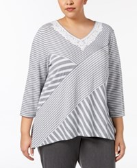 Alfred Dunner Plus Size Spliced Crochet Trim Top Charcoal