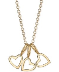 Sarah Chloe Triple Heart Charms Pendant Necklace 16 2 Extender Gold Over Silver