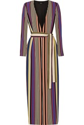 Badgley Mischka Striped Crepe Coat Purple