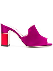 Pollini Colour Block Mules Pink And Purple