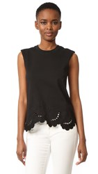 Victoria Beckham Embroidered Sleeveless Tee Black