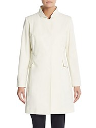 Cinzia Rocca Stretch Cotton Stand Collar Coat White