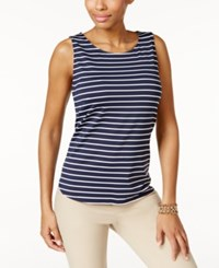 Charter Club Striped Tank Top Only At Macy's Intrepid Blue Combo