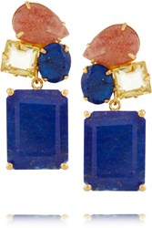 Bounkit Gold Tone Lapis Quartz And Stone Earrings Metallic