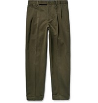 Paul Smith Tapered Cotton And Linen Blend Twill Chinos Green
