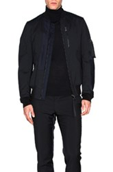Lanvin Matte Satin And Leather Bomber In Black