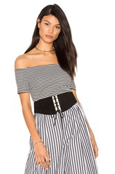 Kendall Kylie Striped Bodysuit Black And White