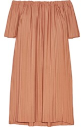 Adam By Adam Lippes Adam Lippes Off The Shoulder Pleated Georgette Tunic Tan