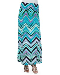 Neiman Marcus Chevron Fold Over Maxi Skirt Teal Multi