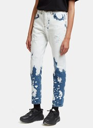 Gucci Bleach Washed Straight Leg Jeans Blue