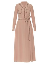 Valentino Tie Waist Silk Midi Shirtdress Light Pink