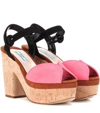 Prada Suede Platform Sandals Multicoloured