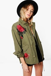 Boohoo Elizabeth Boutique Rose Embroidered Military Jacket Khaki