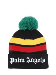 Palm Angels Logo Embroidered Knit Beanie Hat