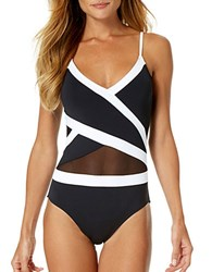 Anne Cole Crossover Mesh Trim One Piece Swimsuit Black
